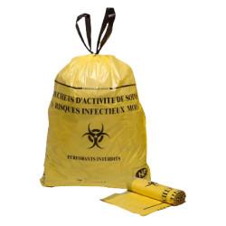 Sacs poubelle 15 L DASRI jaune liens coulissants X 500